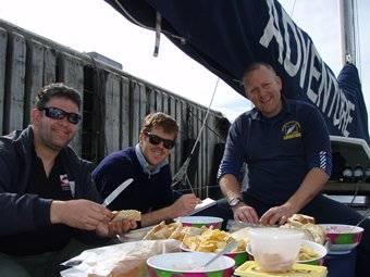 Andy, Stu and Daz prepare lunch
