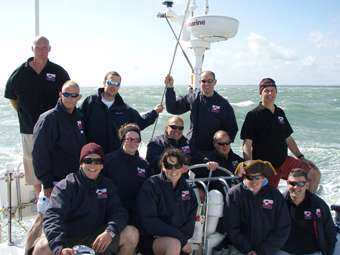 """We wish all Force 7's were as nice as this one!""""  Everyone on deck just after coming through the Needles into the Solent."""