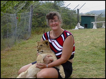 hugging a lion