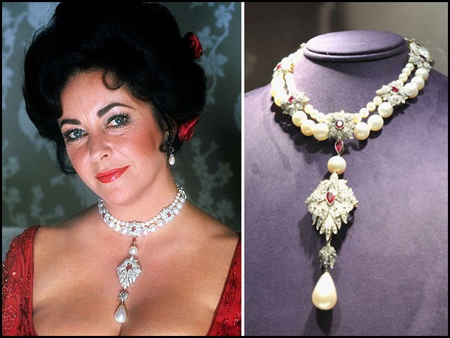 Elizabeth Taylor wears her famous necklace bearing La Peregrina, the 35mm pearl once belonging to Queen Isabella of Spain. Taylor's pearl, diamond, and ruby choker features an enormous pearl called La Peregrina which was discovered in Spain 400 years ago. The pearl was bought for her by her actor husband Richard Burton, for $37,000, who had Cartier design the choker. 