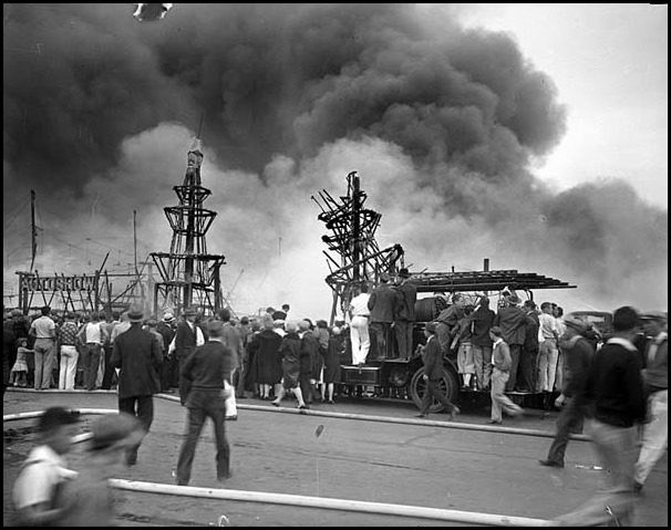Mar. 6, 1929: Spectators watching fire at 1929 Los Angeles Auto Show