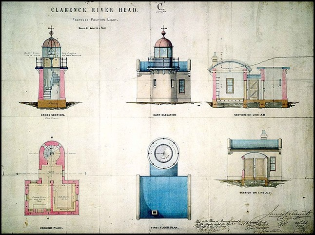 Clarence River Light - plans for proposed position light, by James Barnet, NSW Colonial Architect, 1878