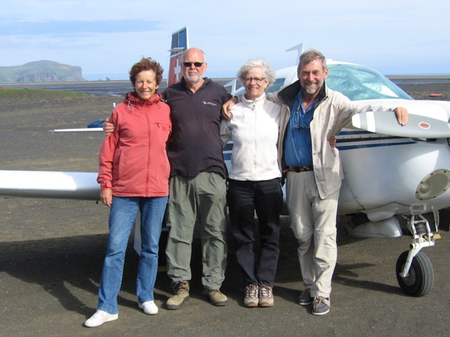 Vik airfield. Angela, Oddur, Anna and Flemming